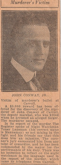 Deputy Marshal John Francis Conway   Carroll Police Department, Iowa