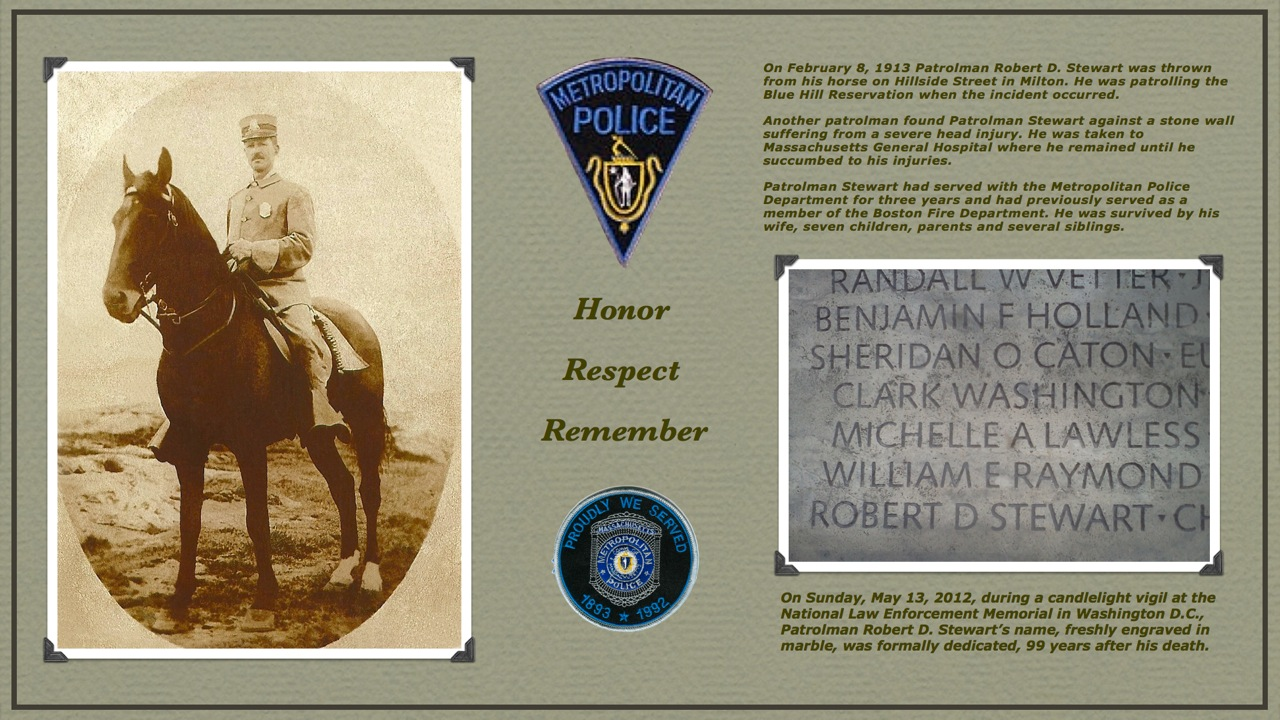 Patrolman Robert D. Stewart | Metropolitan Police Department, Massachusetts