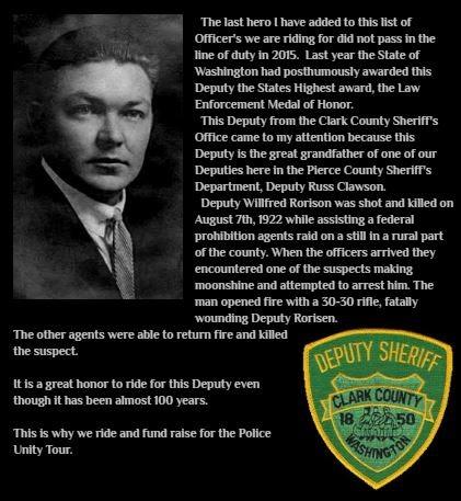Deputy Sheriff Willfred E. Rorisen | Clark County Sheriff's Department, Washington