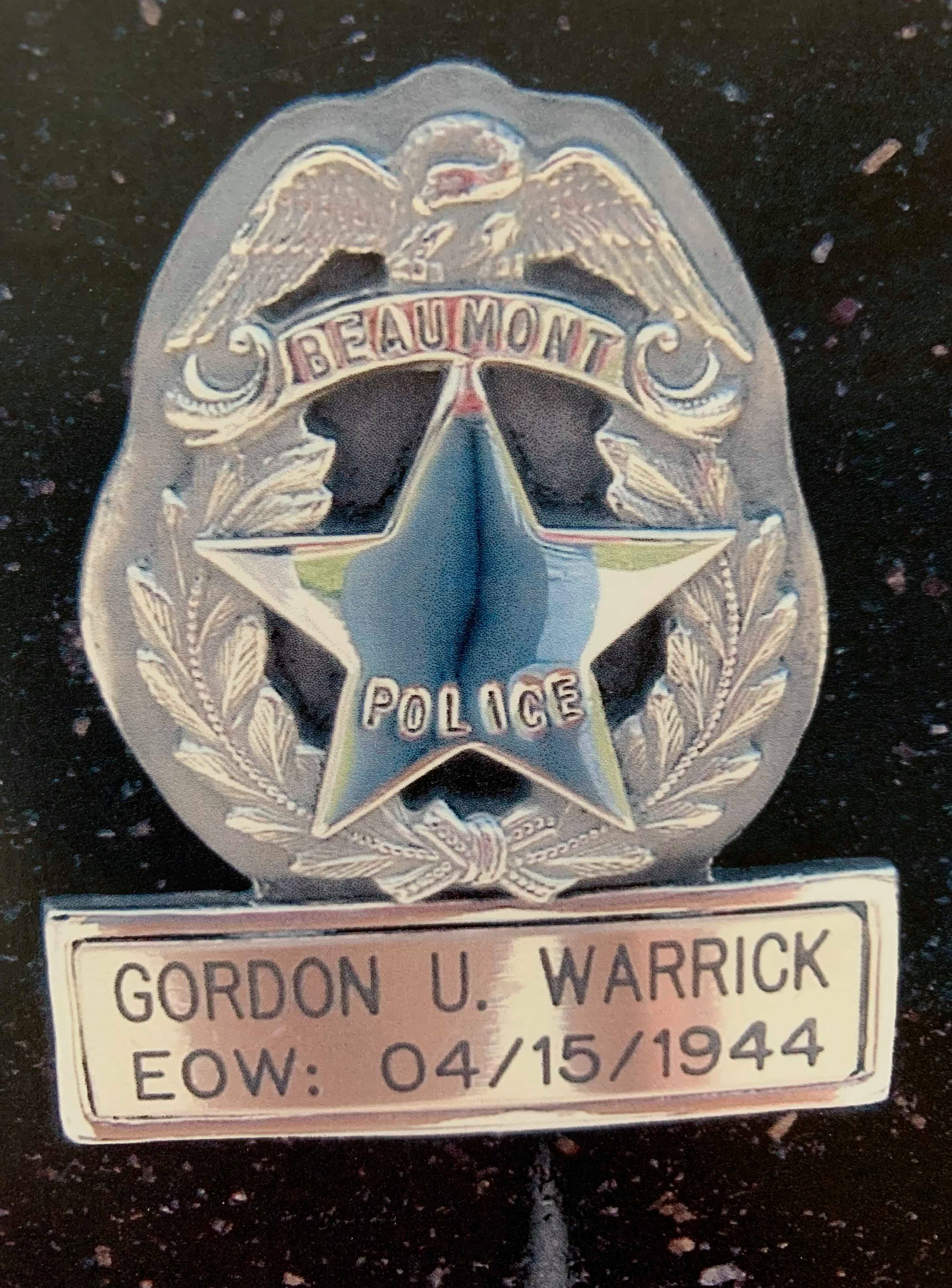 Motorcycle Officer Gordon Udell Warrick | Beaumont Police Department, Texas