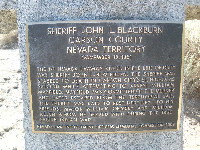 Sheriff John L. Blackburn   Carson County Sheriff's Office, Nevada