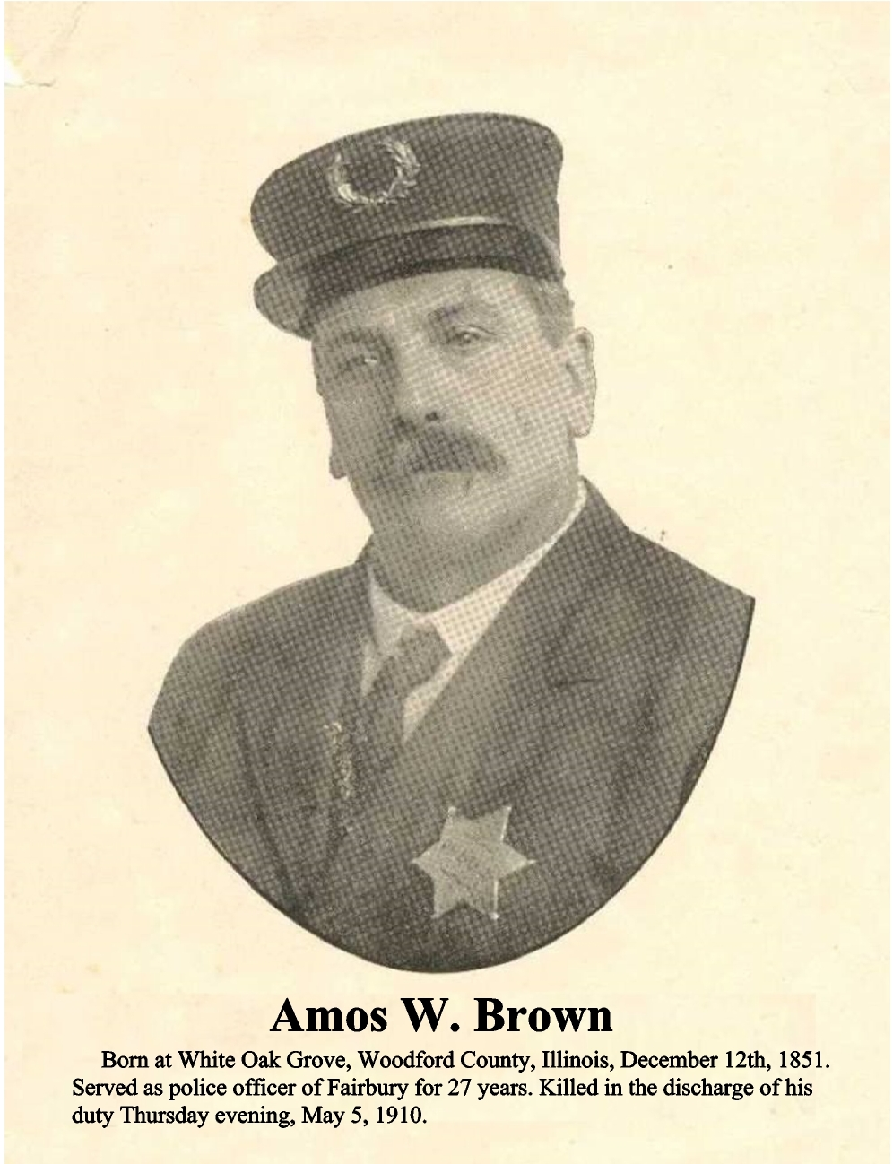 City Marshal Amos Brown | Fairbury Police Department, Illinois