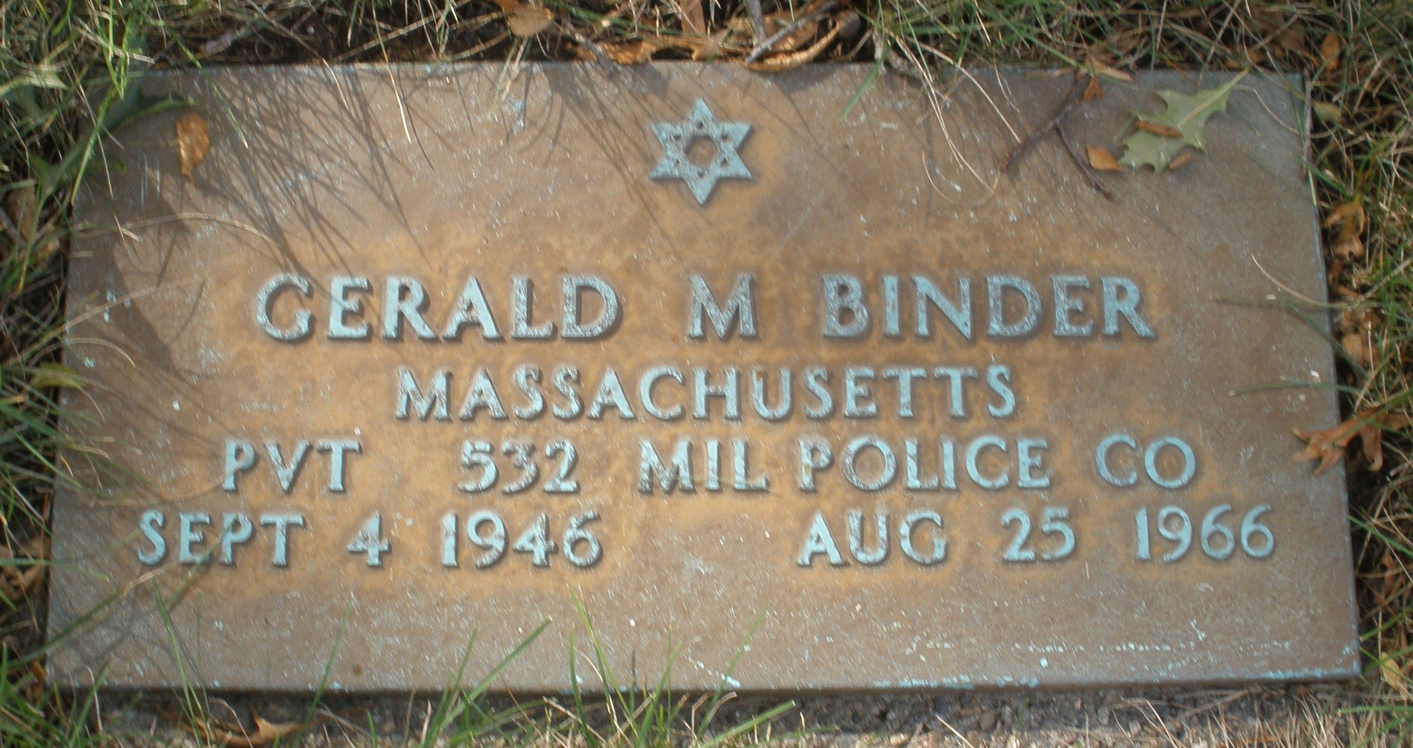 Private First Class Gerald Morton Binder | United States Army Military Police Corps, U.S. Government