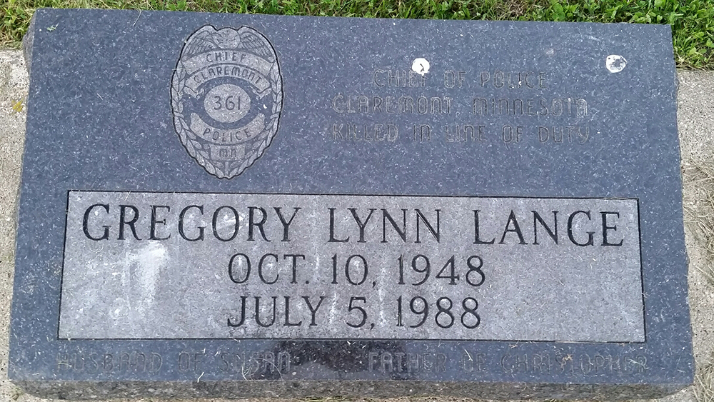 Chief of Police Gregory Lynn Lange   Claremont Police Department, Minnesota